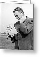 Man Studying A Golf Book Greeting Card