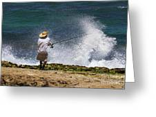 Man Versus The Sea Greeting Card