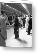 Man Waits In Heuston Station Dublin Greeting Card
