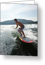 Man Wakesurfing Behind Wakeboard Boat Greeting Card