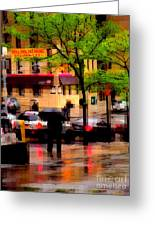 Reflections - New York City In The Rain Greeting Card