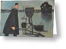 Man Walking Machine On Beach Greeting Card
