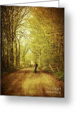 Man Walking  On A Lonely Country Road Greeting Card