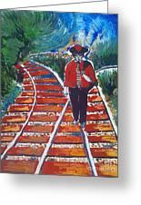 Man Walking On Rails Greeting Card