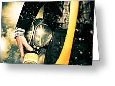 Man With Gas Mask. New Beginning. Skys The Limit Greeting Card