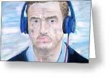 Man With Headphones Greeting Card