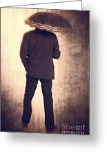 Man With Vintage Umbrella Greeting Card