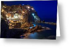 Manarola At Night Greeting Card