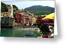 Waterfront - Vernazza - Cinque Terre - Abstract Greeting Card