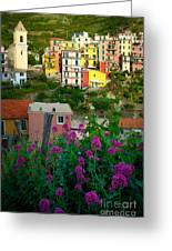 Manarola Flowers And Houses Greeting Card