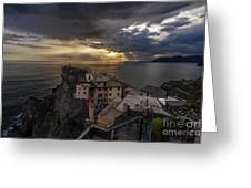 Manarola Sunset Storm Greeting Card