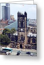 Manchester Cathedral Greeting Card by Anthony Bean