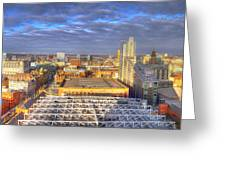 Manchester Skyline Panoramic Hdr Greeting Card