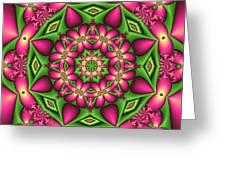 Mandala Green And Pink Greeting Card