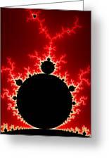 Mandelbrot Fractal Flash Power Red And Black Greeting Card