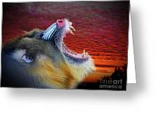 Mandrill Roaring At The End Of A Day  Greeting Card