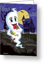 Manga Sweet Ghost At Halloween Greeting Card by Martin Davey