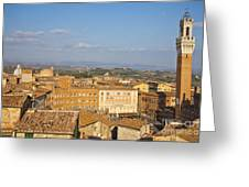 Mangia Tower Piazzo Del Campo  Siena  Greeting Card