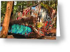 Mangled Whistler Train Wreck Box Car Greeting Card