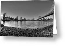 Manhattan And Brooklyn Bridge Fisheye Bw Greeting Card