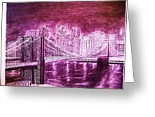 Manhattan At Night Enhanced Greeting Card