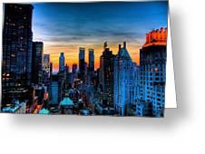 Manhattan At Sunset Greeting Card
