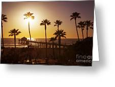 Manhattan Beach At Sunset Greeting Card