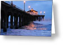 Manhattan Beach Pier Crashing Surf Greeting Card