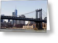 Manhattan Bridge And One Wtc Greeting Card