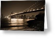Manhattan Bridge At Night II Greeting Card