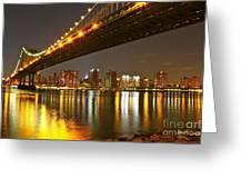 Manhattan Bridge By Night Greeting Card