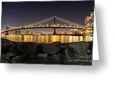 Manhattan Bridge Evening Reflections Greeting Card