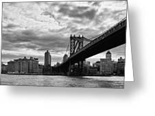 Manhattan Bridge In Bw Greeting Card