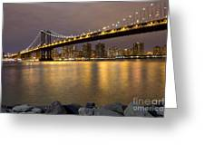 Manhattan Bridge Lights  Greeting Card