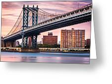 Manhattan Bridge Under A Purple Sunset Greeting Card