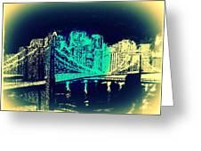 Manhattan In Blue Greeting Card