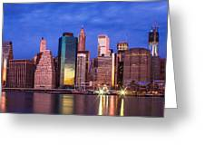 Manhattan Skyline At Sunrise Greeting Card