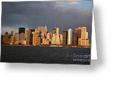 Manhattan Skyline At Sunset Greeting Card