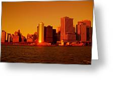 Manhattan Skyline At Sunset Greeting Card