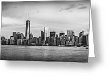 Manhattan Skyline Black And White Greeting Card