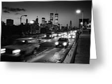 Manhattan Skyline Dusk 1980s Greeting Card