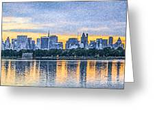 Manhattan Skyline From Central Park Reservoir Nyc Usa Greeting Card