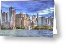 Manhattan Skyline From Hudson River Greeting Card by Juli Scalzi