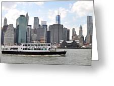 Manhattan Skyline With Boat Greeting Card