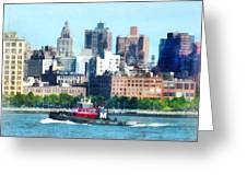 Manhattan - Tugboat Against Manhattan Skyline Greeting Card