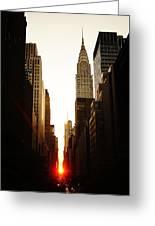 Manhattanhenge Sunset And The Chrysler Building  Greeting Card