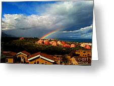 Spanish Landscape Rainbow And Ocean View Greeting Card