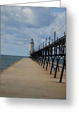 Manistee Lighthouse And Walkway Greeting Card