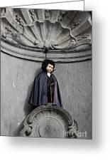 Manneken Pis In Brussels Dressed As Dracula Greeting Card by Kiril Stanchev