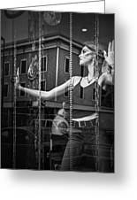 Mannequin In Storefront Shop Window In Black And White Greeting Card
